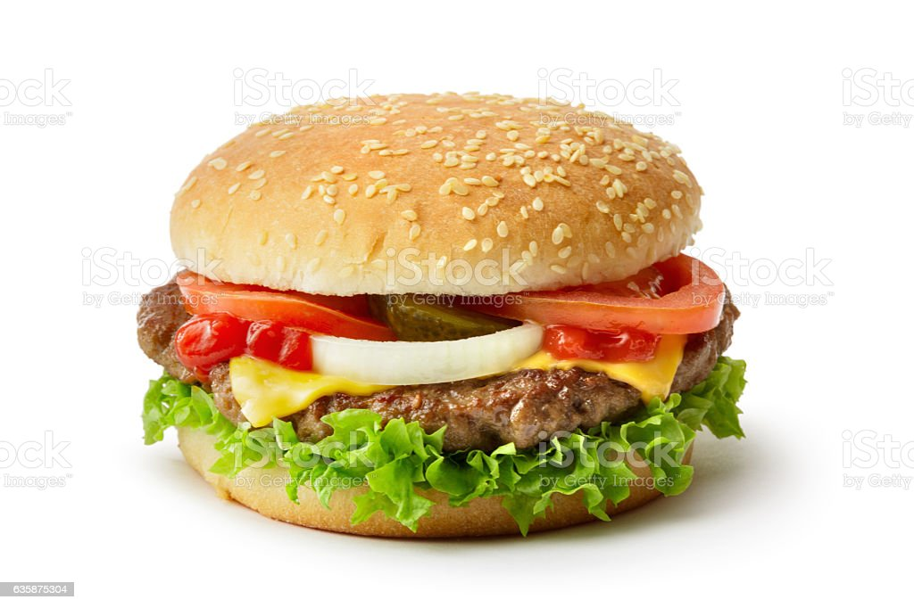 Snacks: Hamburger Isolated on White Background stock photo