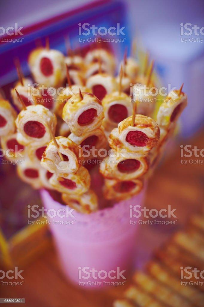 Snacks on baby girl birhtday stock photo