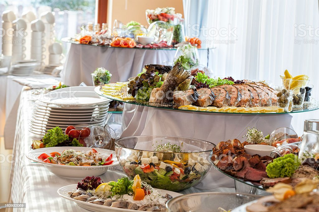 Snacks on banquet table stock photo