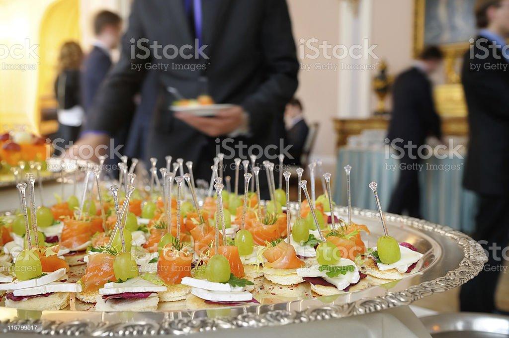 Snacks on the tray. stock photo
