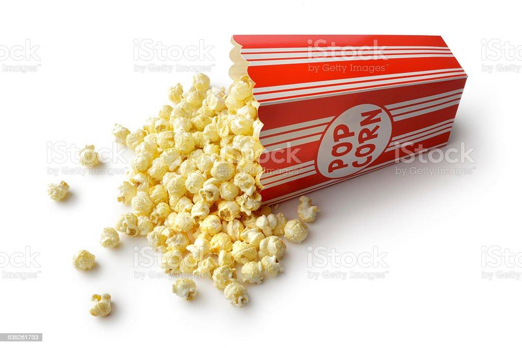 Snacks: Popcorn Isolated on White Background stock photo