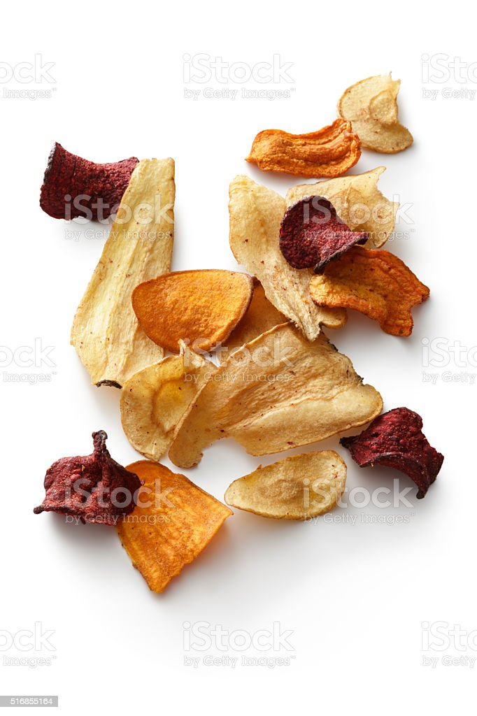 Snacks: Vegetable Chips Isolated on White Background stock photo
