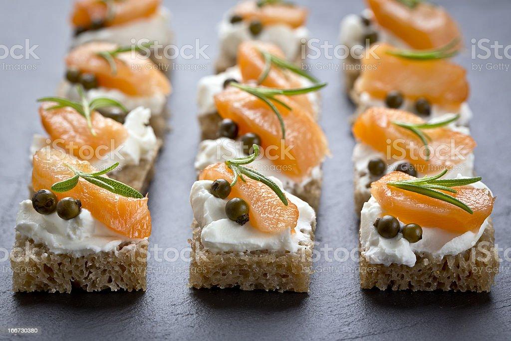 snacks with smoked salmon stock photo