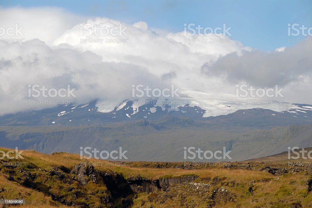 Snaefellsnesjökull Glacier hiding in the clouds royalty-free stock photo