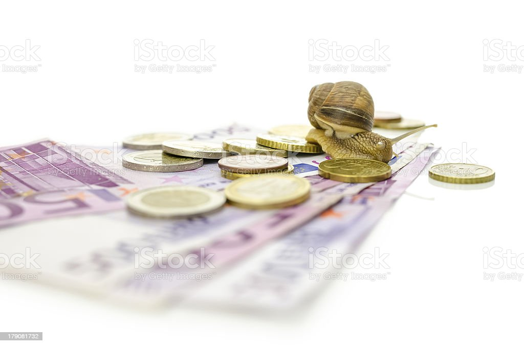 Snail on top of Euro coins and banknotes. stock photo