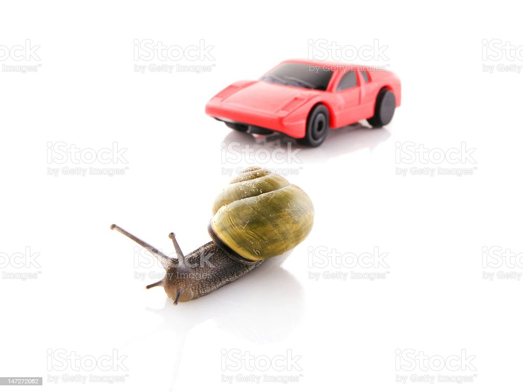 Snail versus sports car royalty-free stock photo