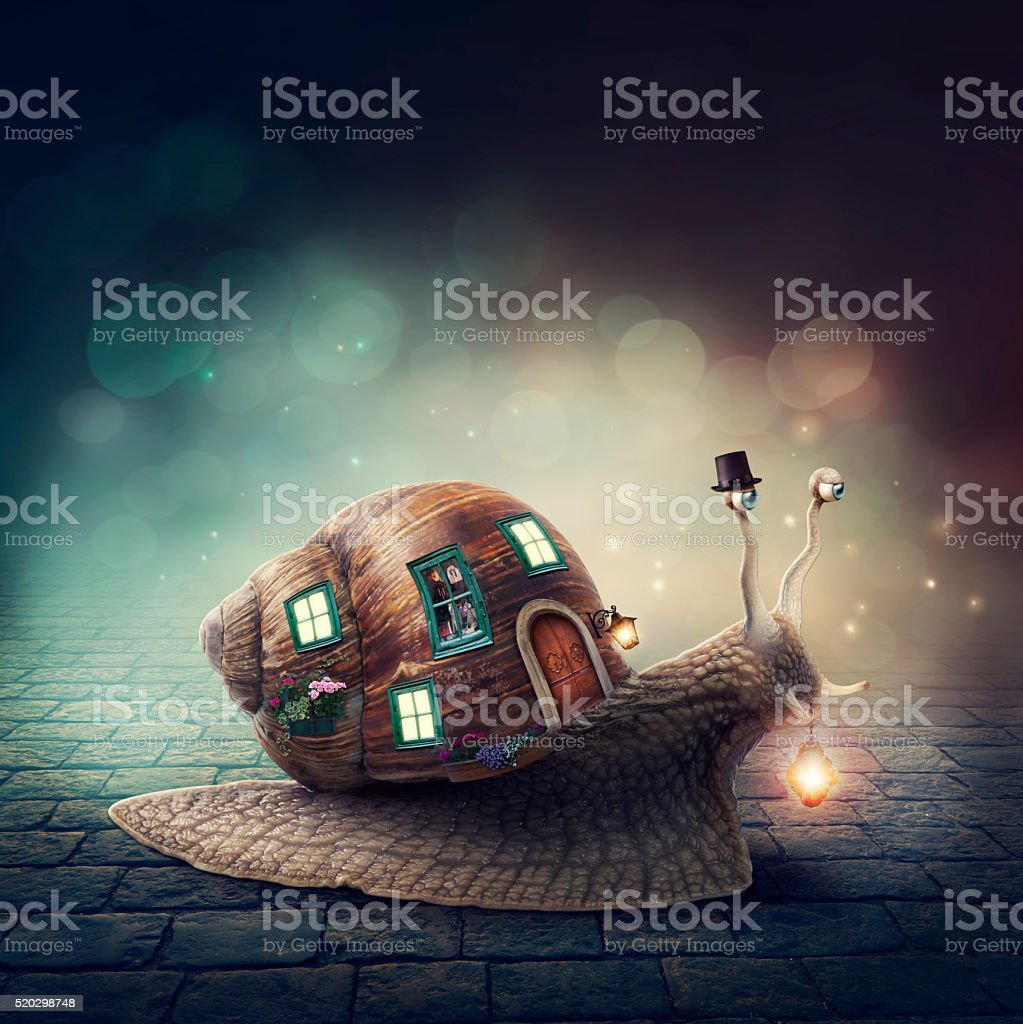 Snail with a shell house stock photo