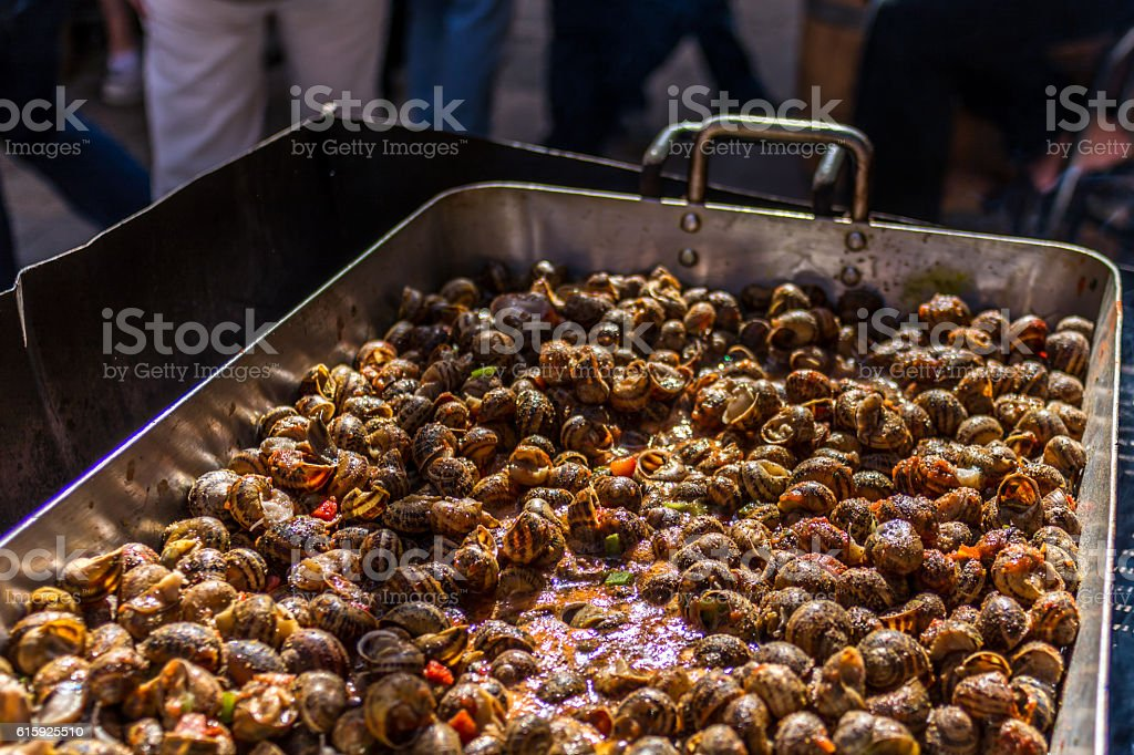 Snails cooked in tomato sauce stock photo