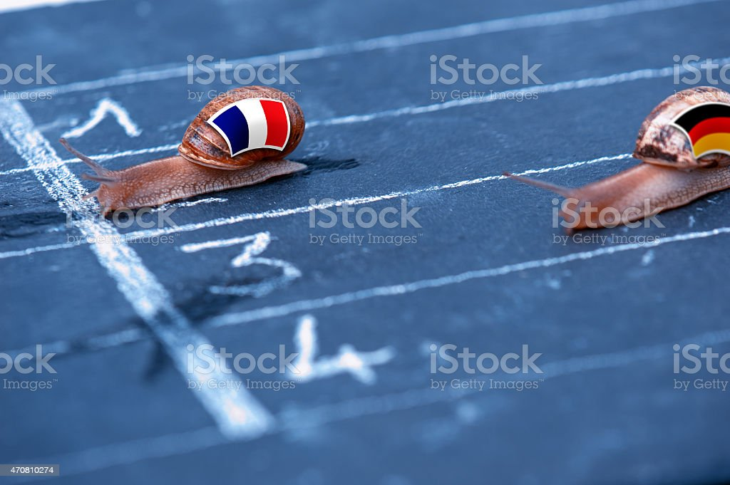 snails race metaphor about France against Germany stock photo