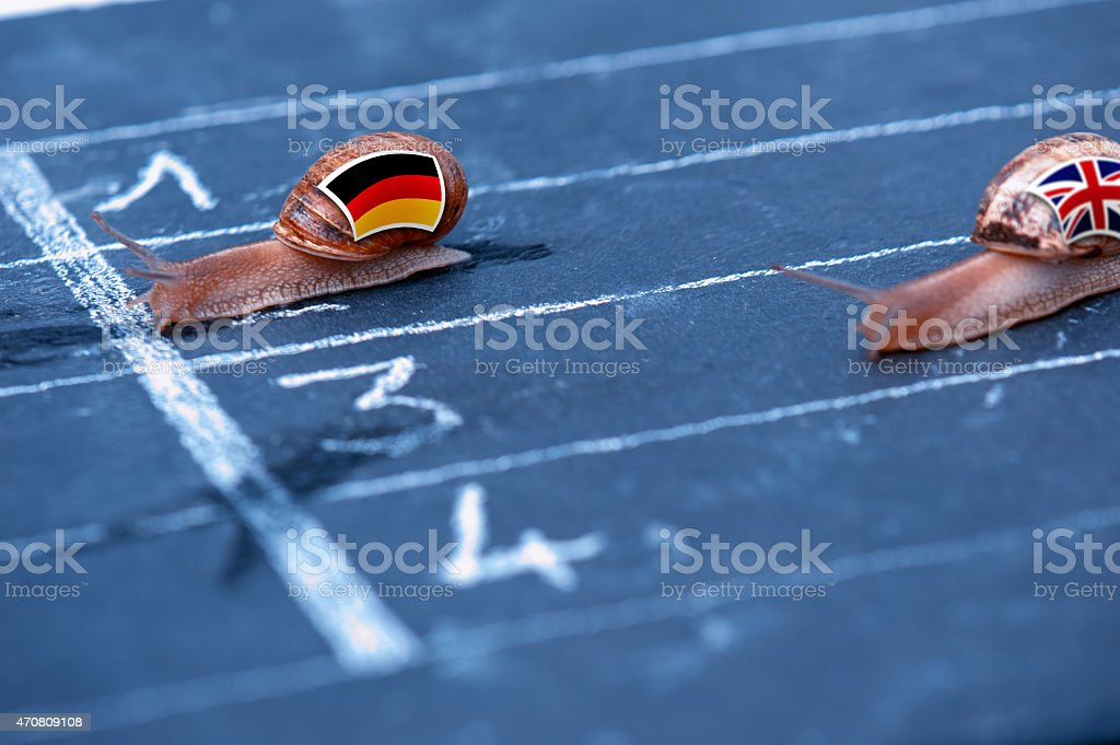 snails race metaphor about Germany against England stock photo