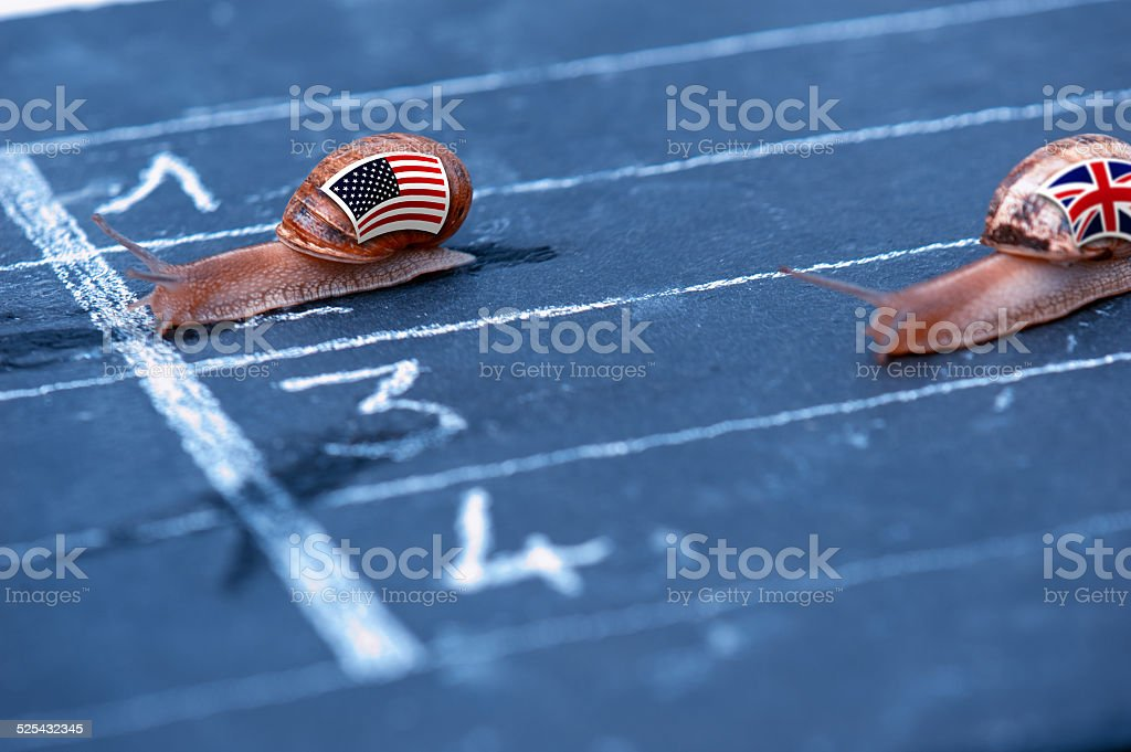 snails race metaphor about Usa against England stock photo