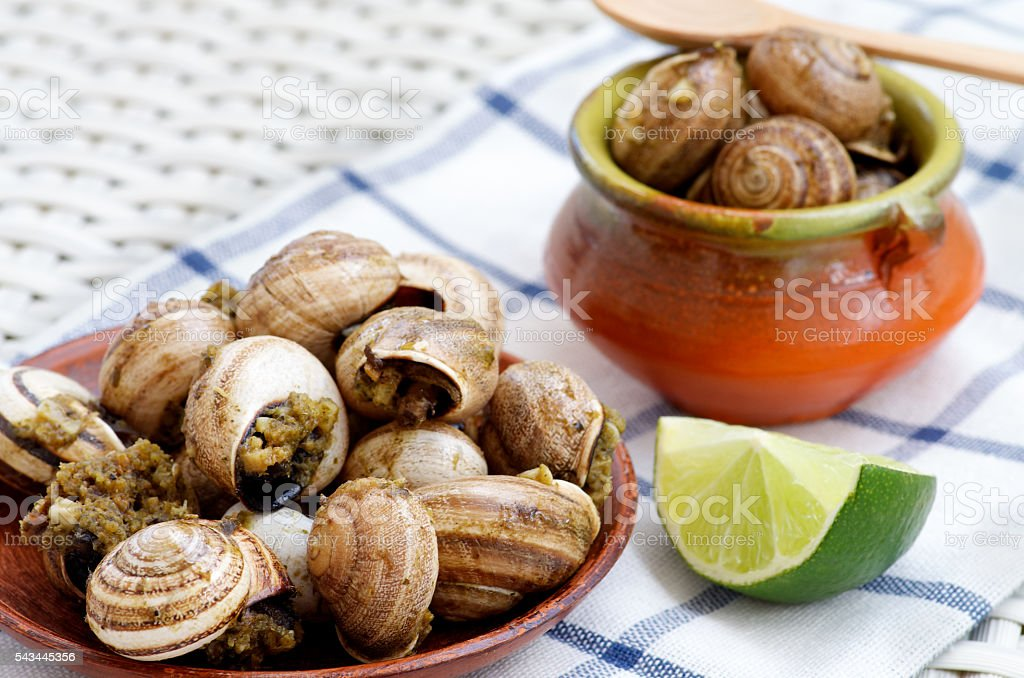 Snails with Garlic Butter stock photo