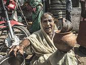 Snake charmer begging in Varanasi India