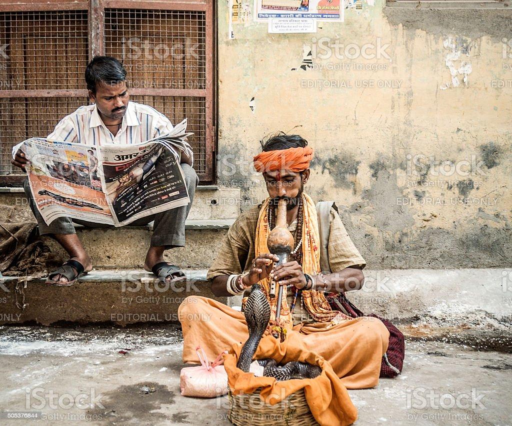 Snake charmer in Varanasi India stock photo