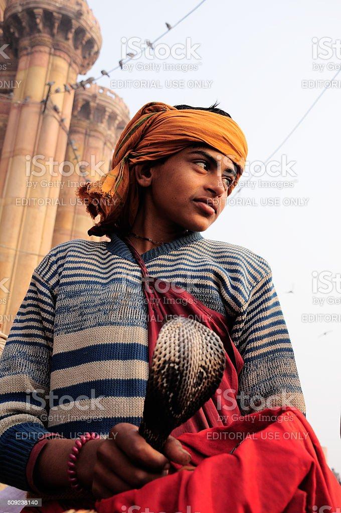 Snake charmer in Varanasi India. stock photo