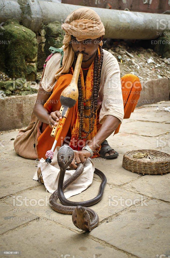 Snake Charmer in Varanasi royalty-free stock photo