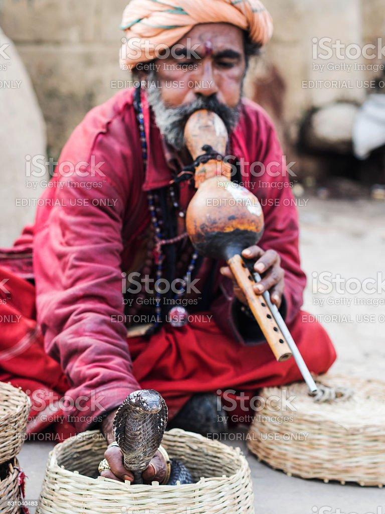 Snake Charmer in Varanasi, Uttar Pradesh, India stock photo