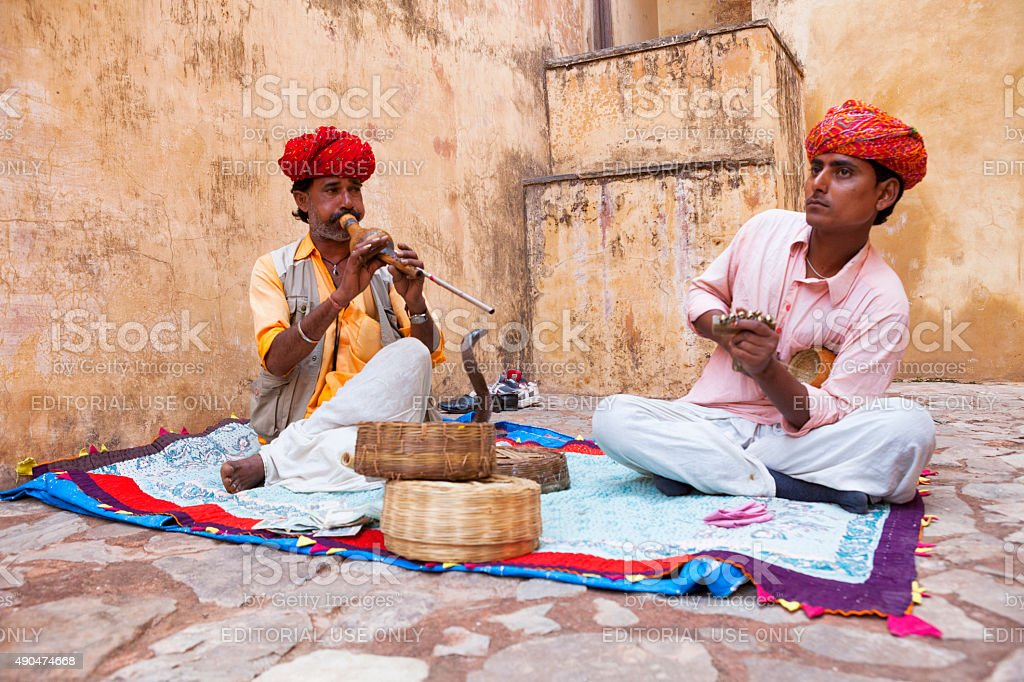 Snake Charmers in Amer, India stock photo