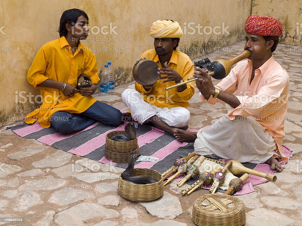 Snake charmers, India stock photo
