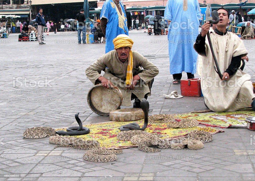 Snake Charmers of Marrakesh stock photo