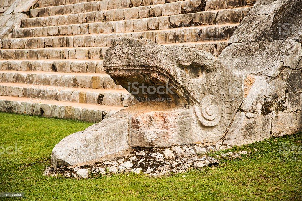 Snake Chichen Itza pyramid stock photo