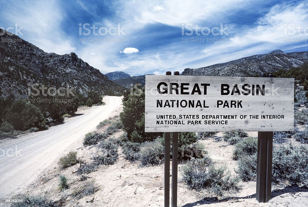 Snake Creek Entrance to Great Basin National Park stock photo