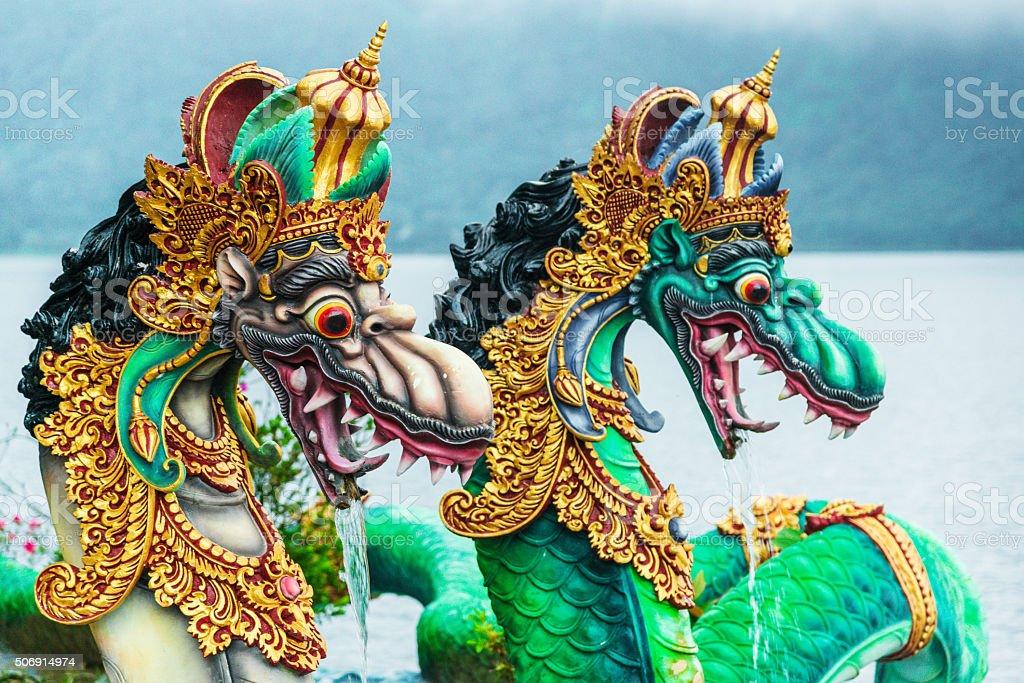 snake figure at Bali Water Temple - Pura Ulun Danu stock photo