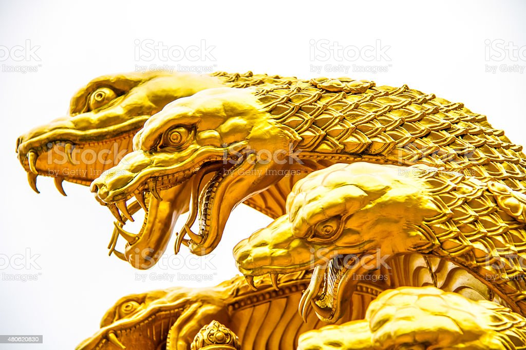 snake of wisnu or narayana statue in chiangmai province ,Thailand stock photo