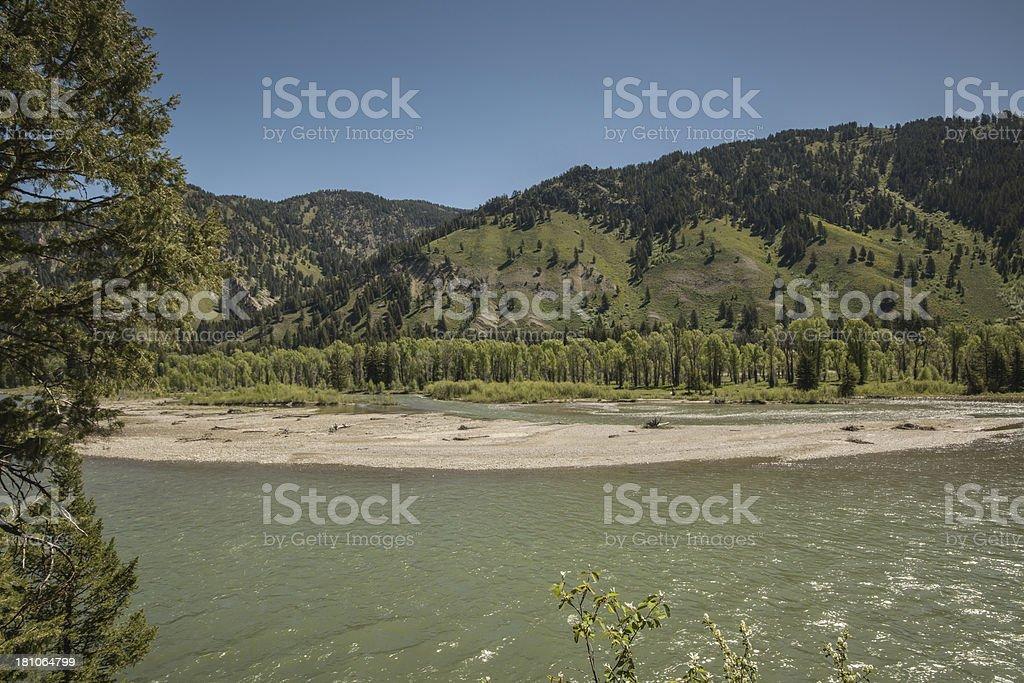 Snake River along hwy 26, Swan Valley of Idaho stock photo