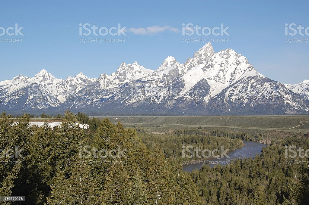 Snake River and Grand Teton Mountains with Mt Moran royalty-free stock photo
