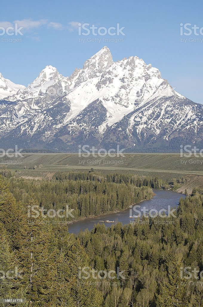 Snake River and Grand Teton Mountains with Mt Moran Vertical stock photo