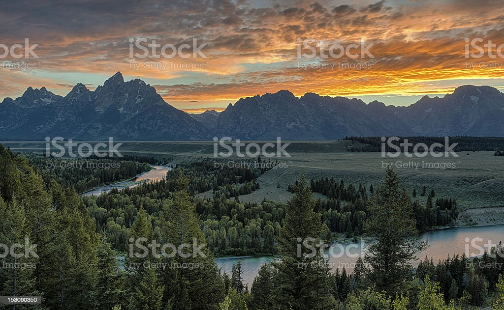 Snake River and Grand Teton Range stock photo