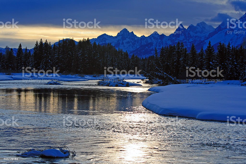 Snake River at sunset in Grand Teton National Park stock photo