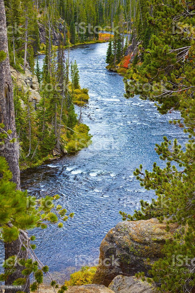 Snake River Flows Through Yellowstone Park, Wyoming in Early Autumn stock photo