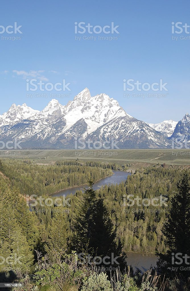 Snake River Grand Teton Mountains Mt Moran Vertical Copy Space royalty-free stock photo