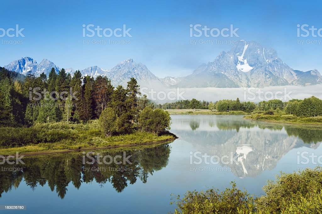 Snake River, Ox Bow Bend Reflection, Grand Teton National Park stock photo