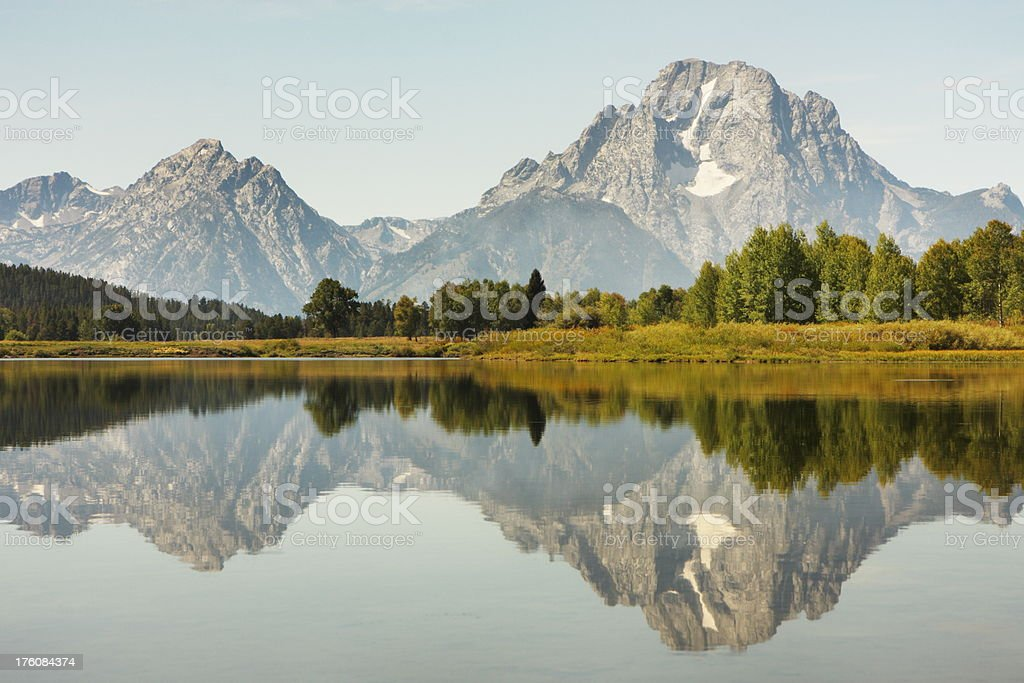 Snake River Reflection Grand Teton stock photo