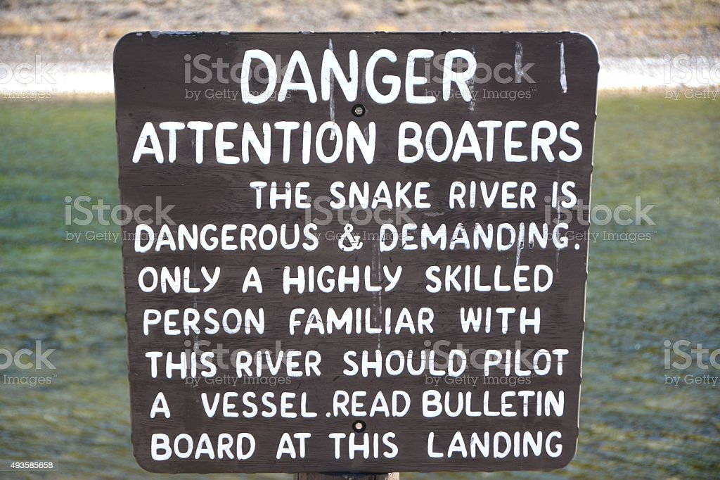 Snake River Warning Sign stock photo