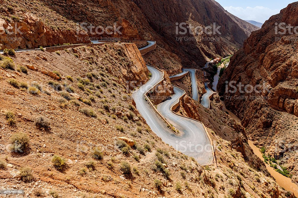 Snake Road in Vall del Dades Gorge in Marocco.Africa stock photo