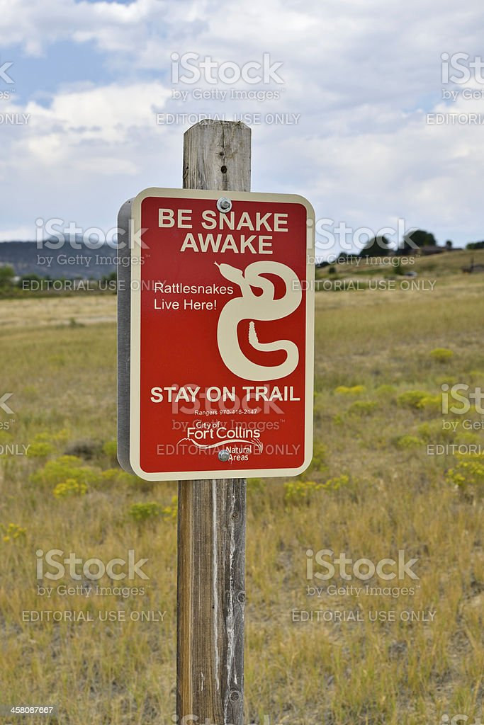 Snake Warning, Cathy Fromme Prairie Natural Area stock photo