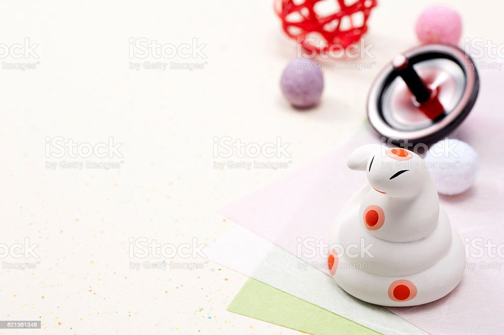 Snake zodiac figurine and New Year accessories stock photo