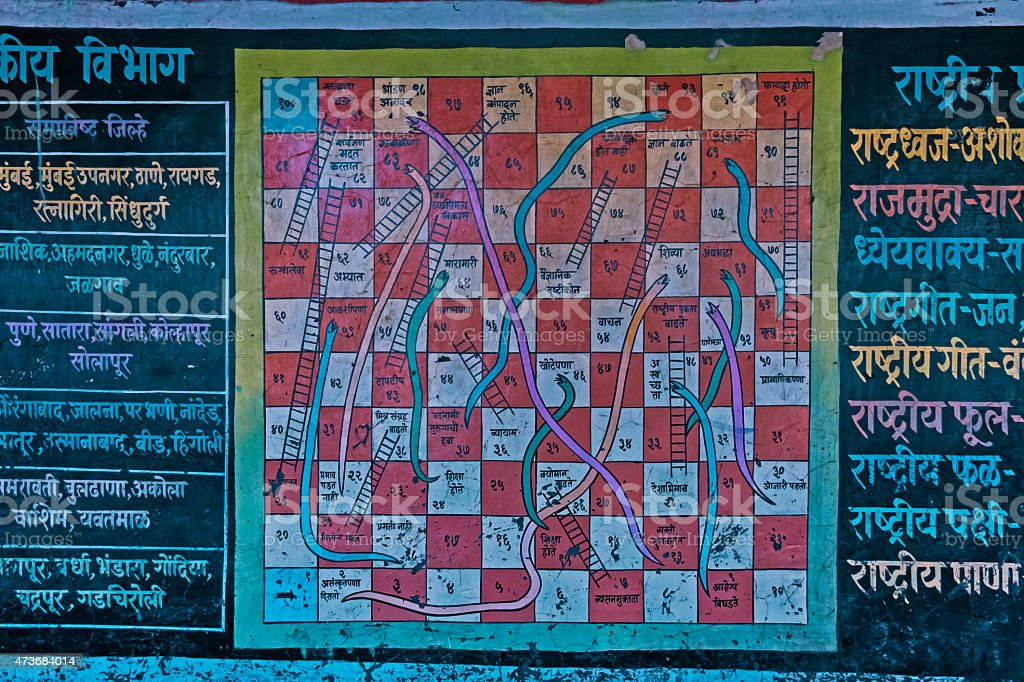 Snakes and ladders numbers game painted on a wall stock photo