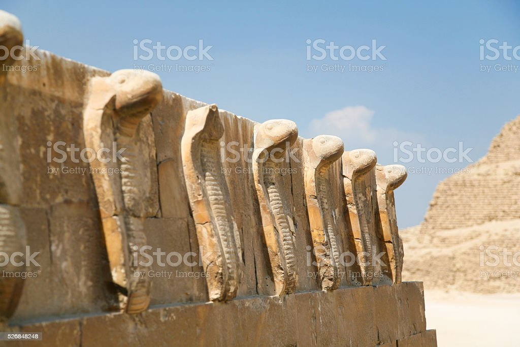 snakes sculpture in Djoser Pyramid stock photo