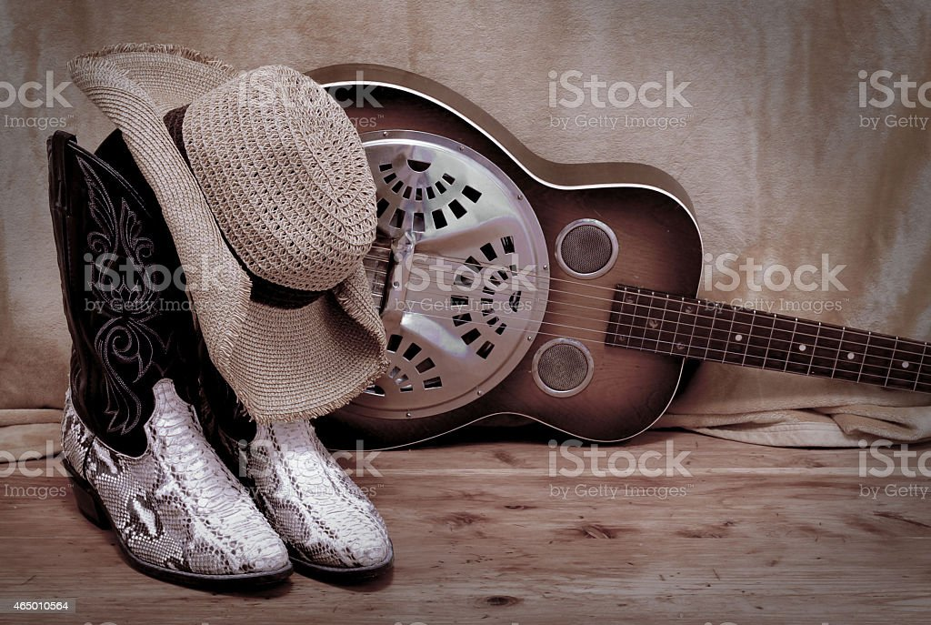 snakeskin cowboy boot with a cowboy hat and a dobro stock photo