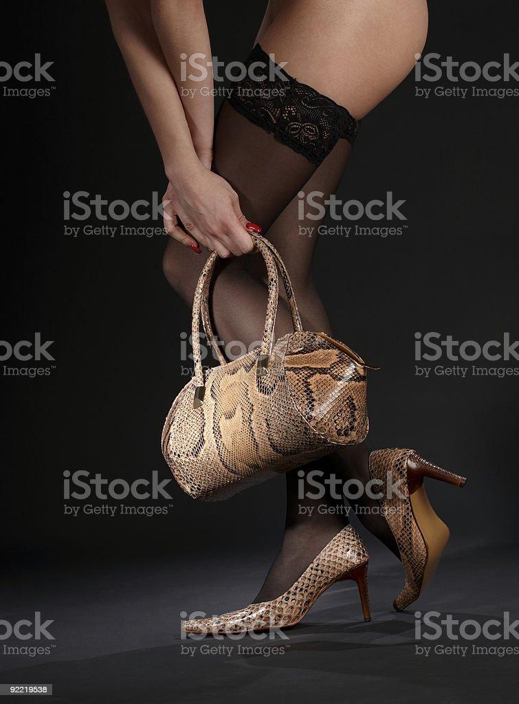 snakeskin shoes, handbag and stockings royalty-free stock photo