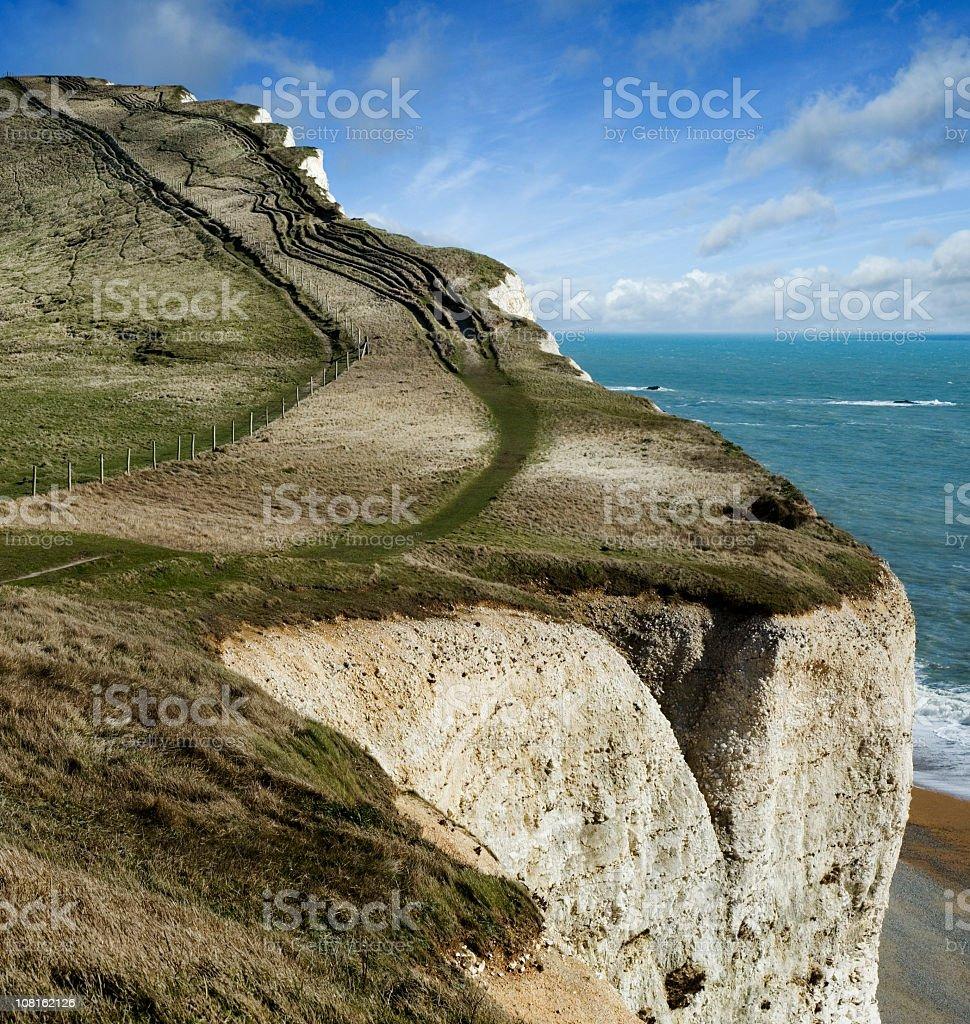 Snaking Pathway along Jurassic Coast Chalk Cliff royalty-free stock photo