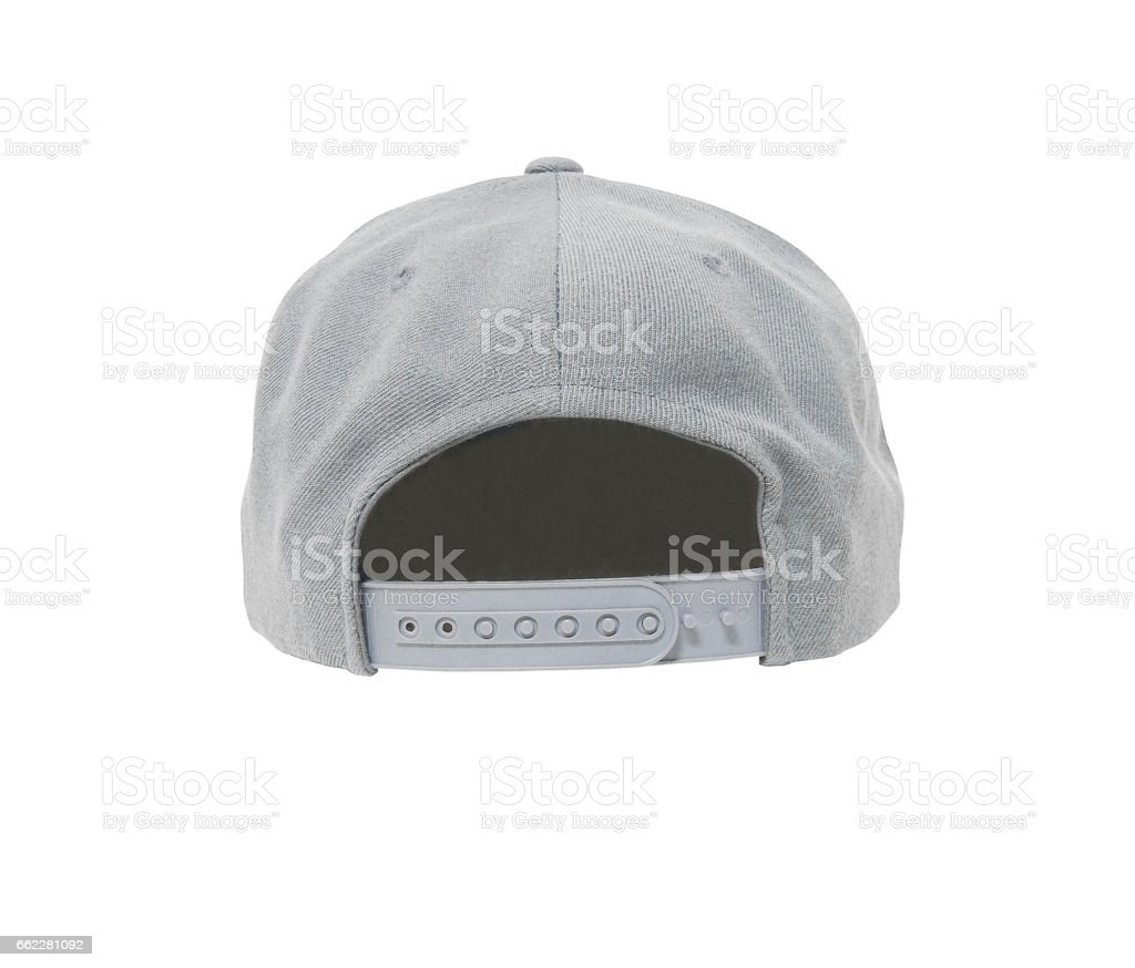 Snap back hat color grey back view stock photo