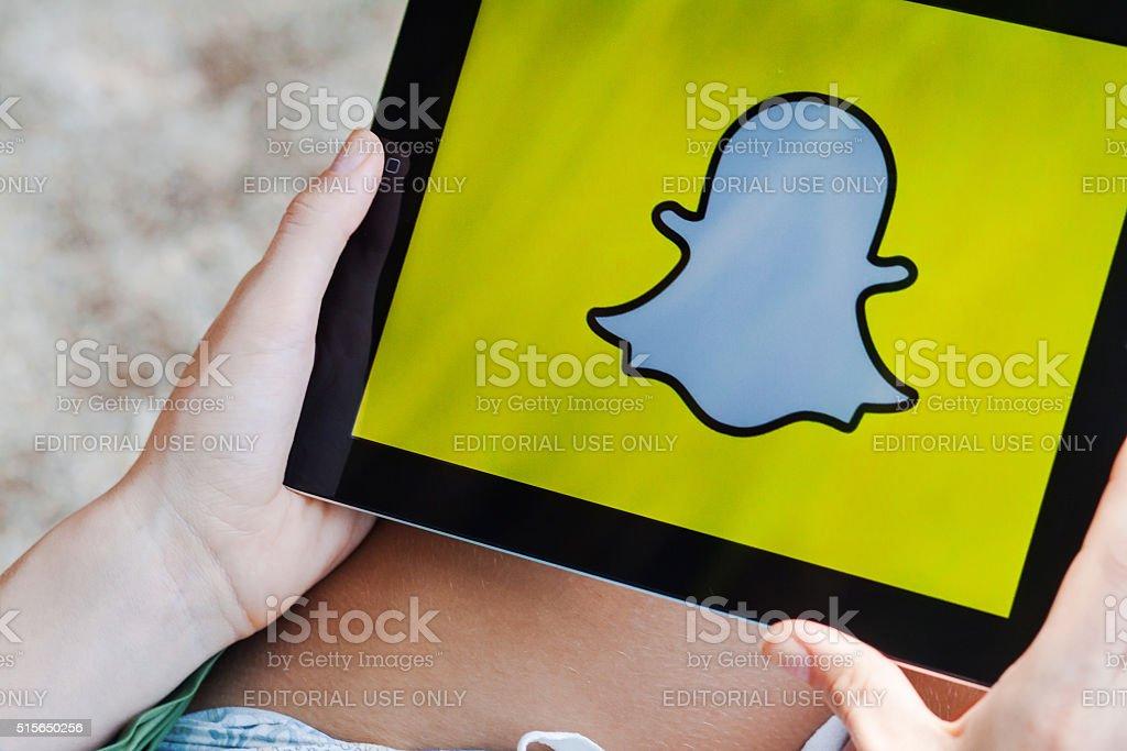 Snapchat App on Ipad display stock photo