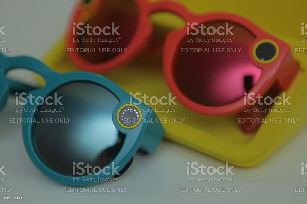 Snapchat's Coral and Teal Spectacles stock photo