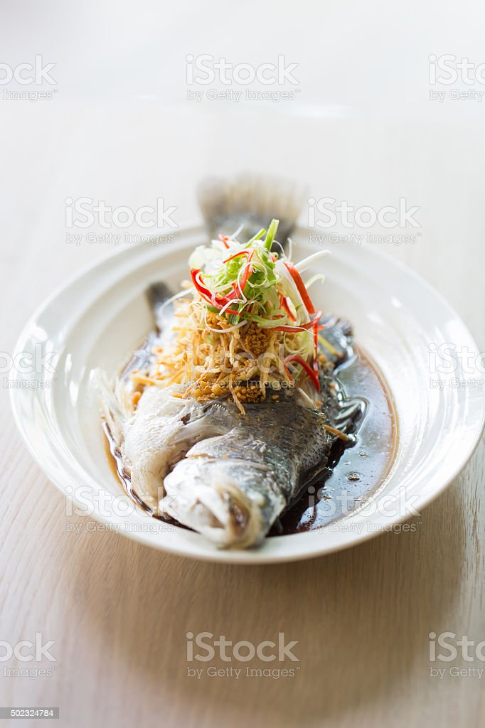 Snapper fish steamed stock photo